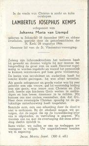 Bidprentje Kemps_ Lambertus Josephus_ _ (1890-1964)_