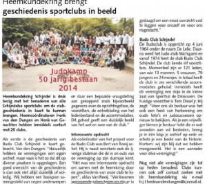 Artikel in DeMooiSchijndelkrant over   het de clubgeschiedenis van de Budoclub Schijndel